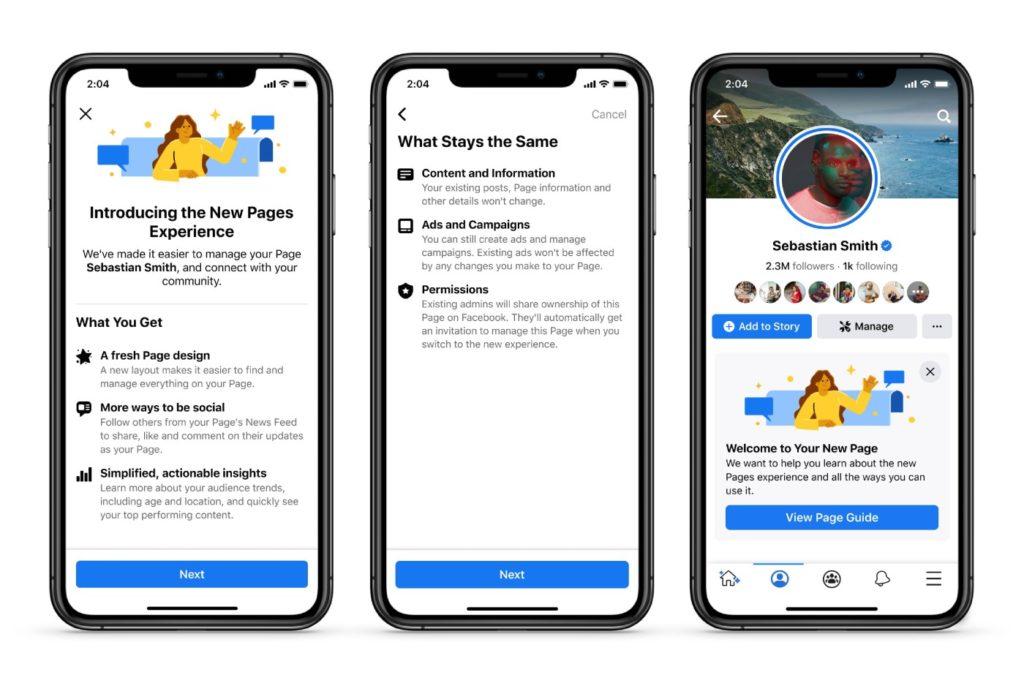 Les nouvelles Pages Facebook en 2021.