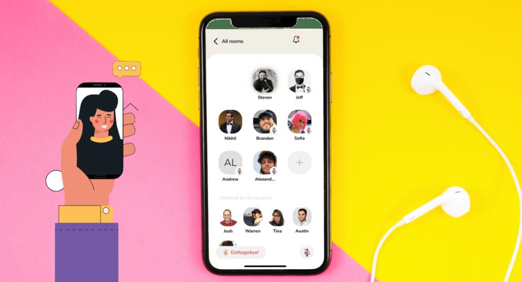 La nouvelle application Clubhouse dans un smartphone.